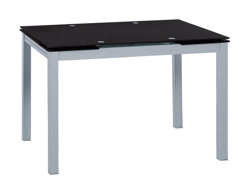 Mesa metálica de comedor con extensibles laterales en color negro