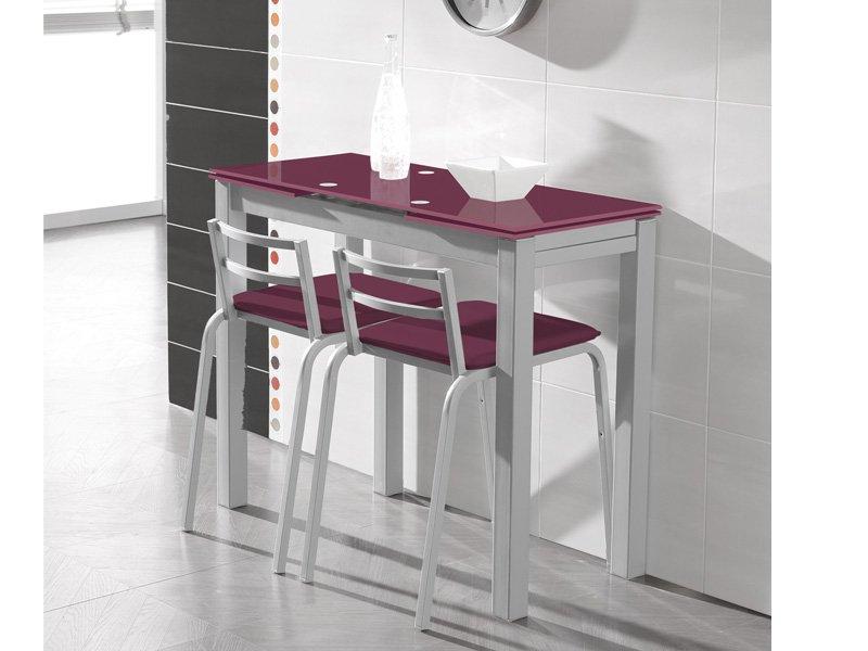Mesa moderna de cocina con estructura met lica y cristal - Mesas modernas de cocina ...
