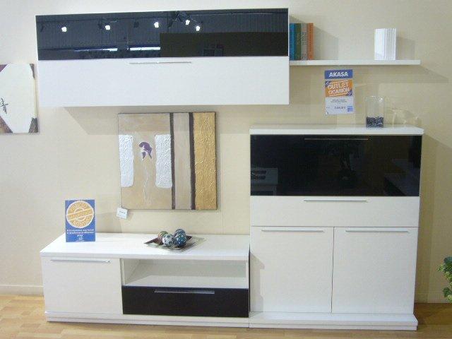 Mueble blanco de salón modular, mueble para comedor lacado blanco