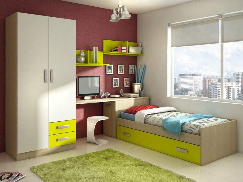 Habitaci n juvenil con cama y arc n de mueble zapatero for Zapateros juveniles
