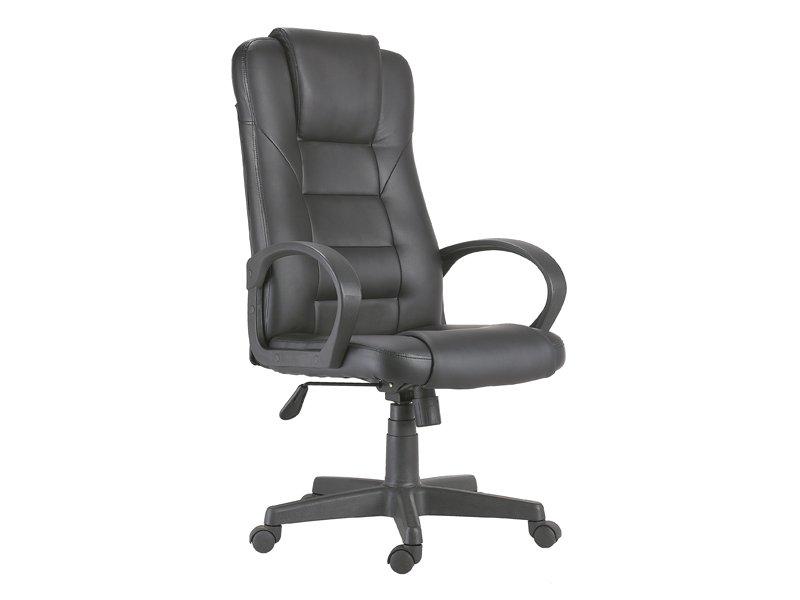 Silla de oficina negra elevable, sillón oficina tapizado cómodo