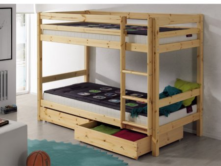 Litera de madera con cajones o cama nido for Literas con cama nido ikea