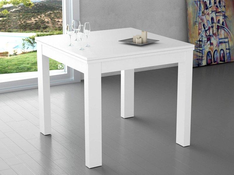 Mesa extensible sencilla apertura vertical tipo libro en for Mesas y sillas blancas de madera