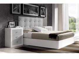 Dormitorio con cabezal tapizado
