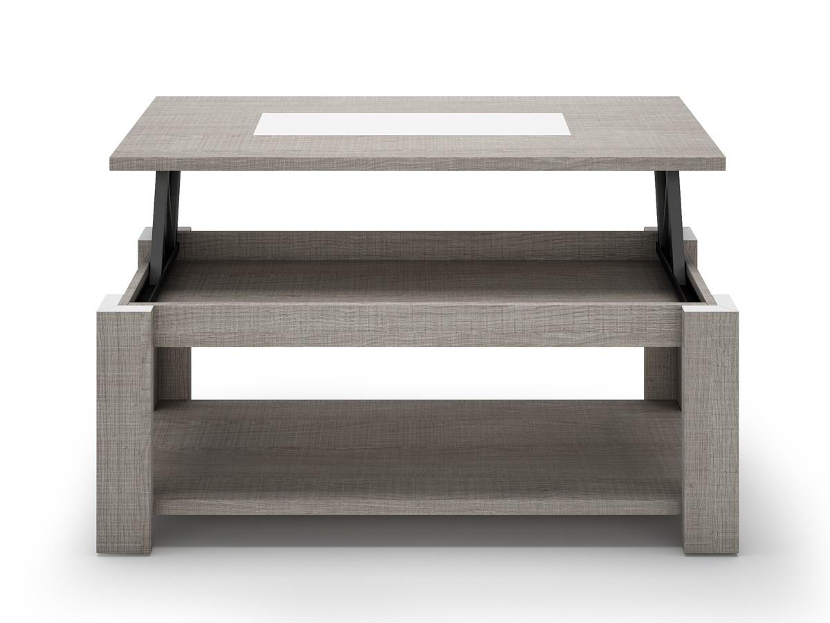 Mesa de centro elevable rectangular de aluminio cromado de 4 patas ...