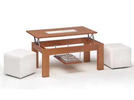 Mesa centro con pouff mesa de centro elevable en varios for Akasa muebles