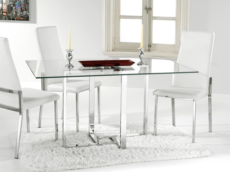 Mesa de cristal para comedor con estructura cromada blanca for Sillas de comedor para mesa de cristal