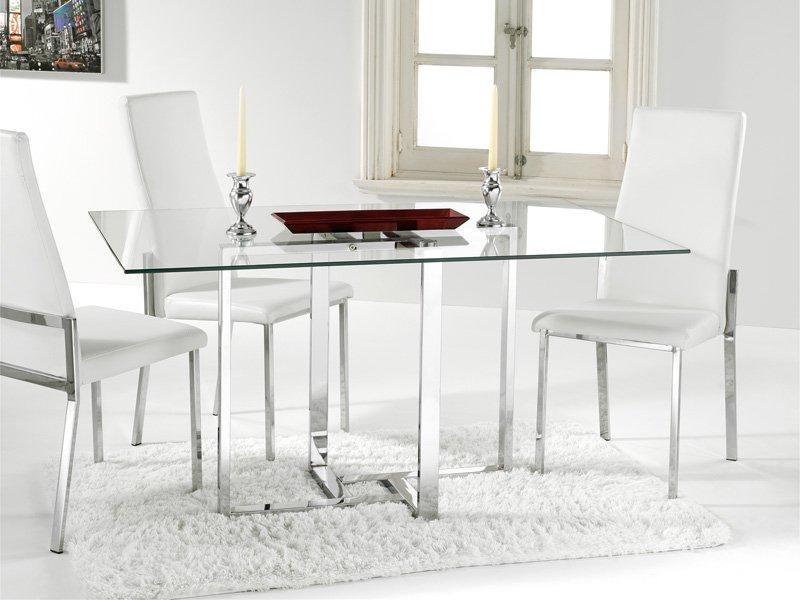 Mesa de cristal para comedor con estructura cromada blanca for Mesas de comedor de cristal