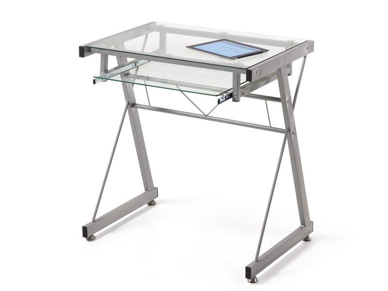 Mesa escritorio de cristal transparente para despacho u - Mesa de estudio de cristal ...