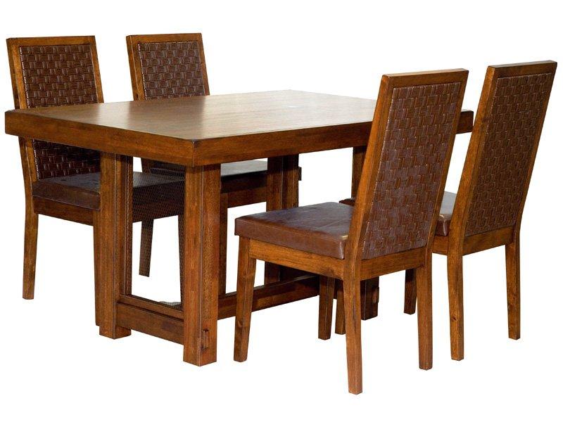 Mesa de comedor estilo étnico, comprar mesa y sillas comedor nogal