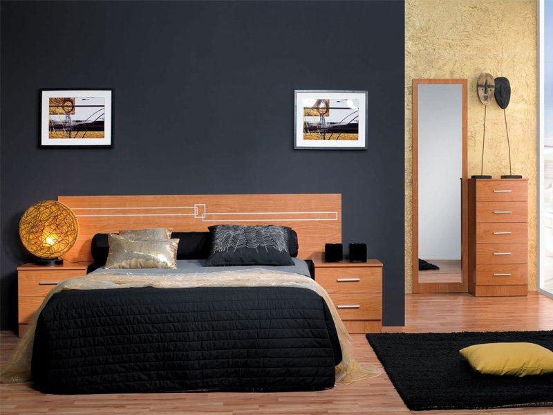 Habitaci n de matrimonio con cabezal y mesitas de noche for Vinilos dormitorio de matrimonio