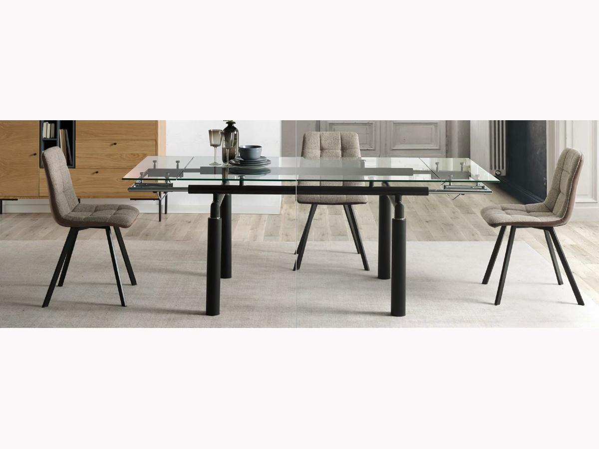 Pack mesa de comedor extensible de cristal y 4 sillas tapizadas