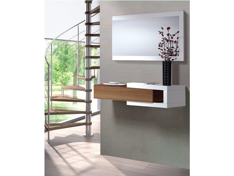 Recibidor con caj n color nogal y espejo en blanco for Mueble recibidor 70 cm