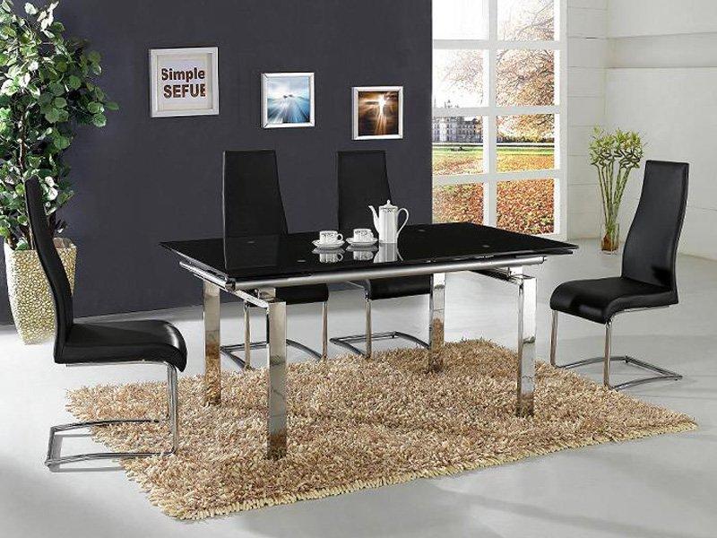 Mesa de comedor cromada con cristal negro templado de seguridad