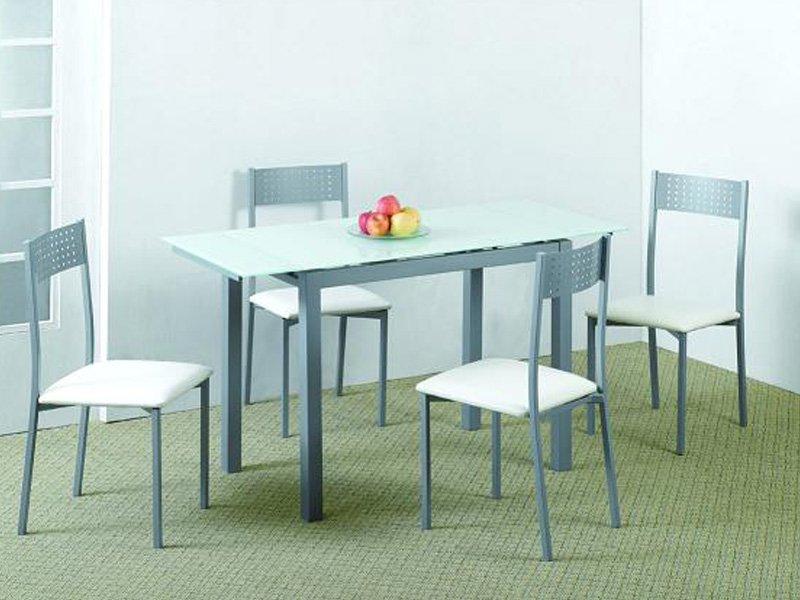 Pack de mesa extensible y sillas, cristal templado negro o blanco