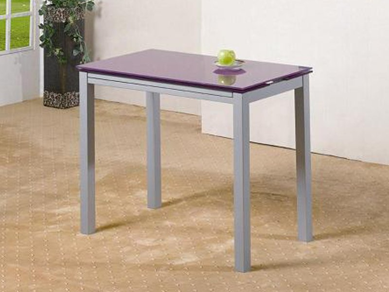 Mesa extensible de cristal y metálica en color morado o blanco