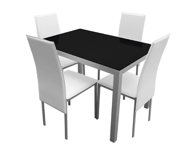 Mesa de cocina con sillas tapizadas en polipiel blanca o negra for Mesa y sillas tapizadas