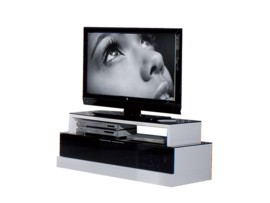 Mueble para tv en blanco y negro de alto brillo