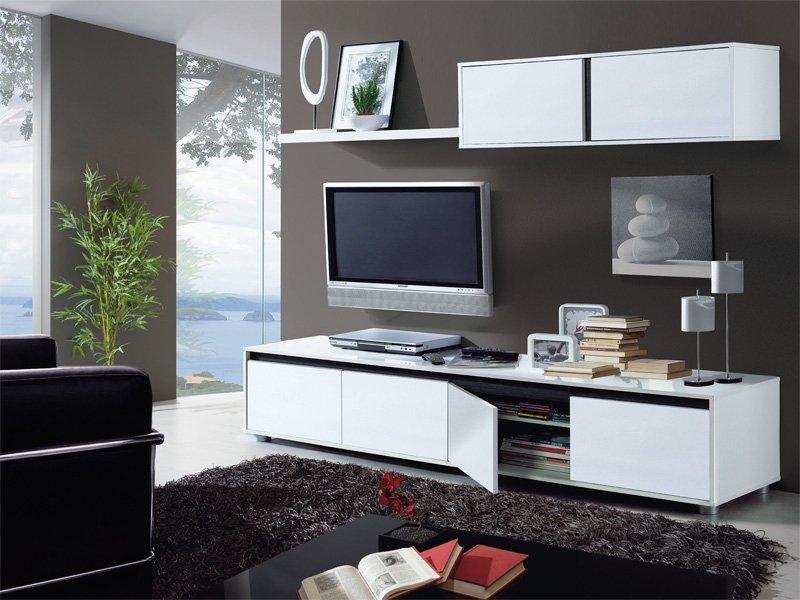 Mueble de comedor para tv blanco y negro oferta sal n for Mueble salon blanco y negro