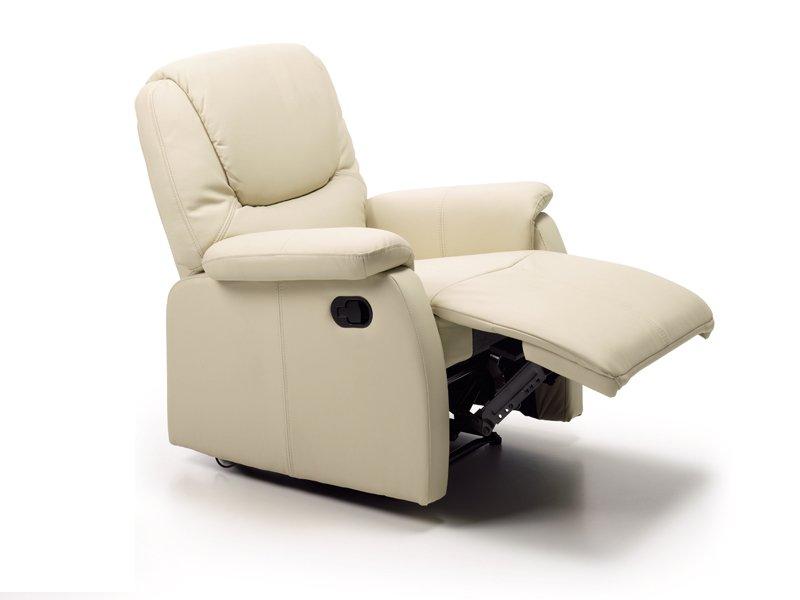 Sill n reclinable con reposapi s tapizado polipiel beige o for Sillon reclinable