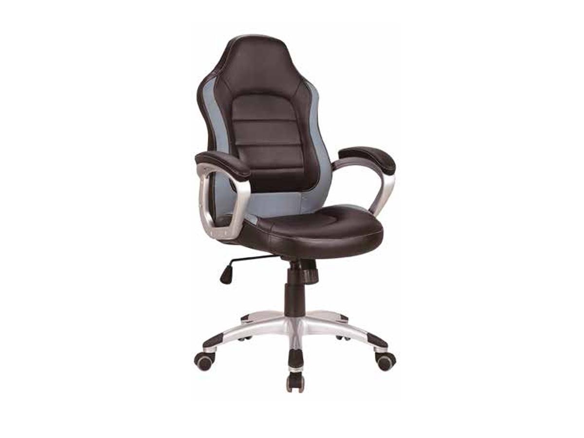 Silla de oficina de piel sintética en color negro y con ruedas