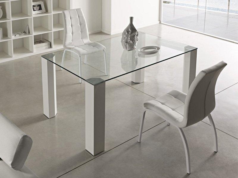 Mesa para comedor en cristal transparente 14mm, patas de aluminio