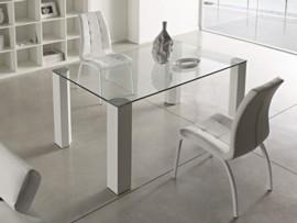 Mesa de comedor de cristal transparente
