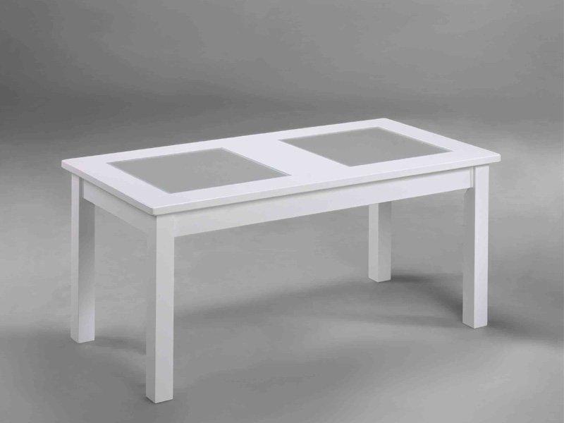 Mesa centro moderna en blanco, mueble mesa con cristales glaseados