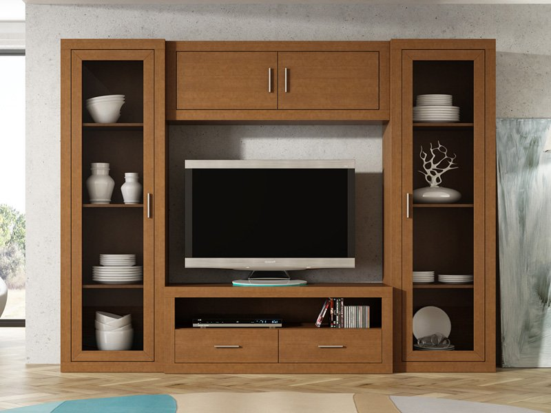 Muebles De Salon Con Vitrina Y Mueble Tv Nogal Pictures to pin on