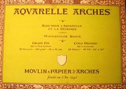Bloc de acuarela 20 hojas Arches encolado por los 4 lados de 23 x 31 cm, 185 gr/m2, grano fino