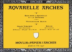 Bloc de acuarela 20 hojas Arches encolado por los 4 lados de 23 x 31 cm, 185 gr/m2, grano grueso