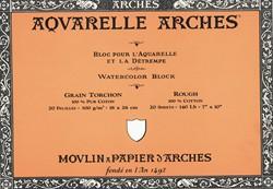 Bloc de acuarela 20 hojas Arches encolado por los 4 lados de 15 x 30 cm, 300 gr/m2, grano grueso