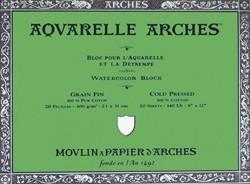 Bloc de acuarela 20 hojas Arches encolado por los 4 lados de 26 x 36 cm, 300 gr/m2, grano fino