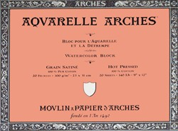 Bloc de acuarela 20 hojas Arches encolado por los 4 lados de 15 x 30 cm, 300 gr/m2, grano satinado