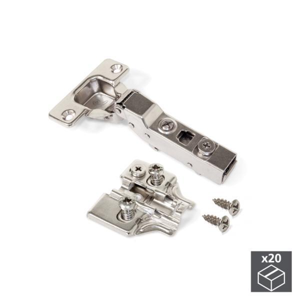 Emuca Bisagra de cazoleta, D. 35 mm, codo, cierre suave, apertura 100º, con suplemento Euro, 20 ud.