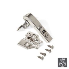 Emuca Bisagra de cazoleta, D. 35 mm, brazo angular 90º, cierre suave, con suplemento, 10 ud.