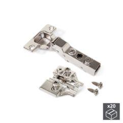 Lote de 20 bisagras codo X91N Emuca apertura 100º y suplementos Euro con regulación excéntrica
