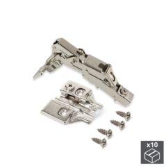 Lote de 10 bisagras rectas X91 Emuca de apertura 165º con cierre suave y suplementos para atornillar con regulación excéntrica