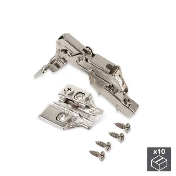 Lote de 10 bisagras codo X91 Emuca de apertura 165º con cierre suave y suplementos para atornillar con regulación excéntrica