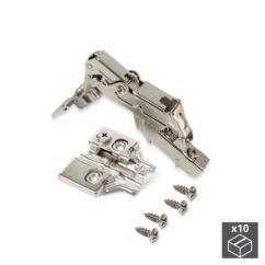 Lote de 10 bisagras codo X91 Emuca de apertura 165º con cierre suave y suplementos para atornillar con regulación excéntrica - Ítem