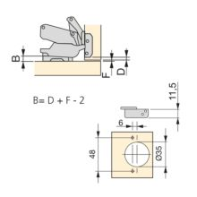 Emuca Bisagra de cazoleta, D. 35 mm, supercodo, cierre suave , apertura 165º, con suplemento, 10 ud. - Ítem1