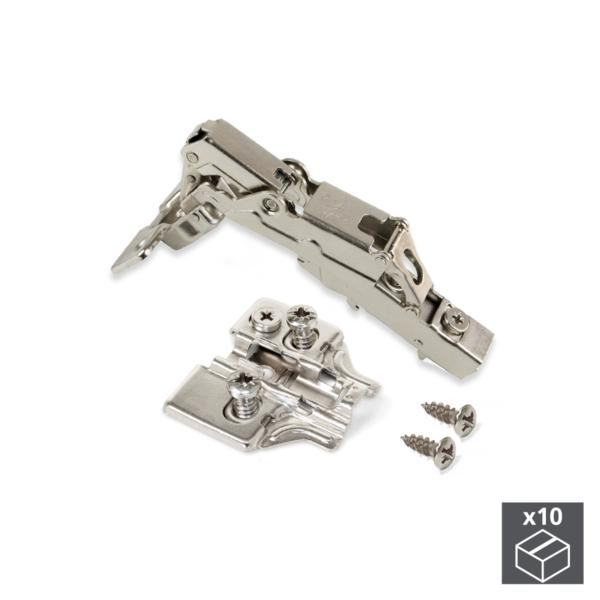 Lote de 10 bisagras rectas X91 Emuca de apertura 165º con cierre suave y suplementos Euro con regulación excéntrica