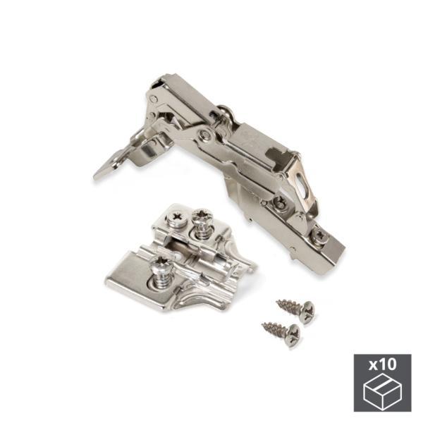 Lote de 10 bisagras codo X91 Emuca de apertura 165º con cierre suave y suplementos Euro con regulación excéntrica