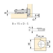 Emuca Bisagra de cazoleta, D. 35 mm, recta, cierre suave, apertura 100º, con suplemento, 2 ud. - Ítem1