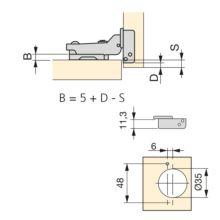 Emuca Bisagra de cazoleta, D. 35 mm, codo, cierre suave, apertura 100º, con suplemento, 2 ud. - Ítem2