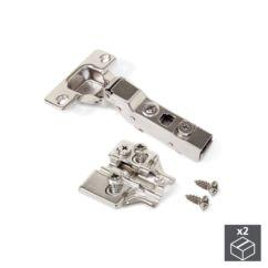 Lote de 2 bisagras codo X91N Emuca apertura 100º y suplementos Euro con regulación excéntrica