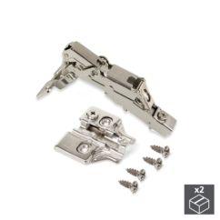 Lote de 2 bisagras rectas X91 Emuca de apertura 165º con cierre suave y suplementos para atornillar con regulación excéntrica