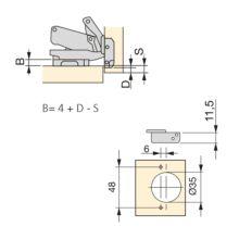 Emuca Bisagra de cazoleta, D. 35 mm, codo, cierre suave, apertura 165º, con suplemento, 2 ud. - Ítem1