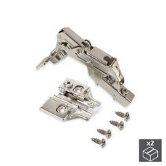 Lote de 2 bisagras codo X91 Emuca de apertura 165º con cierre suave y suplementos para atornillar con regulación excéntrica