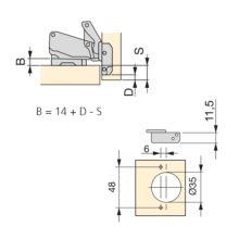 Emuca Bisagra de cazoleta, D. 35 mm, recta, cierre suave, apertura 165º, suplementos Euro, 2 ud. - Ítem1